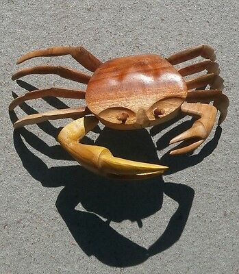 Vtg Hand Made Carved Wood Solid Wooden Crab LARGE Life Size Folk Art Nautical