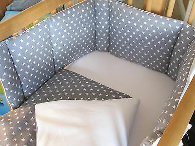 Cushi cots boys swing crib bumper and duvet set white stars set on grey new