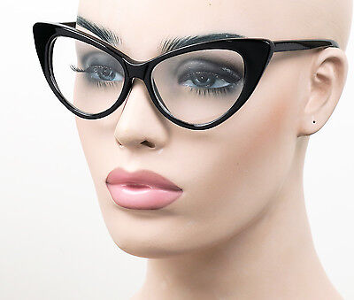 Large Fashion Cat Eye Glasses Retro Pinup 50s Vintage Style Clear Lens K77