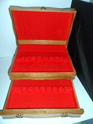Vintage Royal Sealy CUTLERY BOX Dove Tailed WOOD BOX Sterling Silver FLATARE