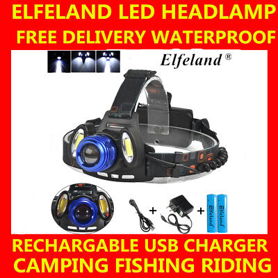 15000Lm 3x T6 Rechargeable Headlamp HeadLight Torch USB Lamp+18650 + Charger