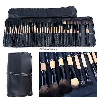 Black Pro 32Pcs Superior Soft Cosmetic Makeup Brush Set Kit + Pouch Bag Case FT