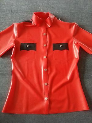Latex Rubber Gummi Red and Black Top Fashion Short-sleeved shirt Size XS-XXL