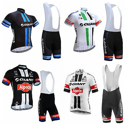 2017 Mens Giant Cycling Team Kit Short Sleeve Bike Jersey Padded Bib Shorts Set
