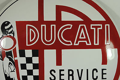 DUCATI Bottone targa lamiera smaltata anni 60 tabella emailled tin sign repro
