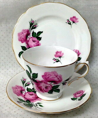 Ridgway Potteries China Queen Anne Trio Pink Roses Numbered Underneath