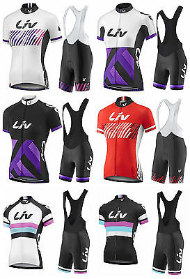 2017 Women Cycling Liv Team Kit Short Sleeve Bicycle Jersey Bib Shorts Set