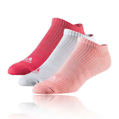 Adidas 3S Performance No-Show Femmes Blanc Rose Climalite Chaussettes Socquettes