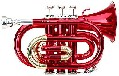 Brass Pocket Trumpet Bb Tuning 3 Valves Mouthpiece Cleaning Cloth Case Red New