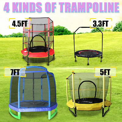 Round Trampoline 3.3FT 4.5FT 5FT 7FT Safety Net Spring Pad Cover Indoor/ Outdoor