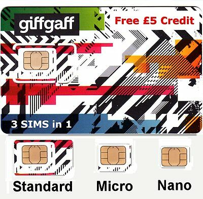 SIMCARD GiffGaff 4G Pay As You Go SIM CARD NANOSIM MICRO STANDARD SIM 5£ OMAGGIO