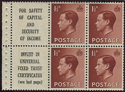 Sg 459a 1½d Red Brown Advert Pane.  A superb mounted mint pane with good perfs