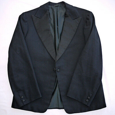 RARE 30's VINTAGE BLACK WOOL EVENING STYLE DINNER JACKET BLAZER 36R VGC