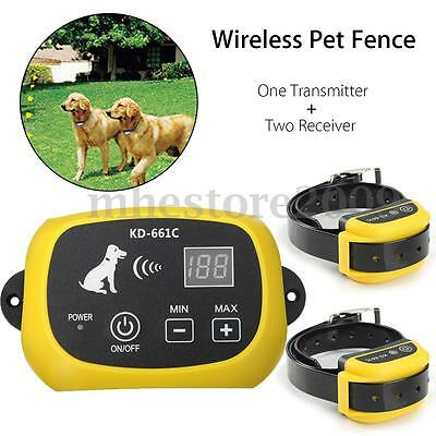 2 Dog Wireless Pet Fence No-Wire Containment System Rechargeable & Waterproof