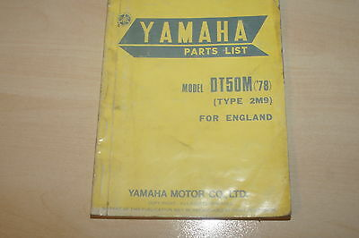 Yamaha Genuine Dt50M Type 2M9 78 Parts List Book Manual