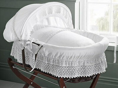 Brand new in box Izziwotnot royal lace mahogany wicker moses basket in white