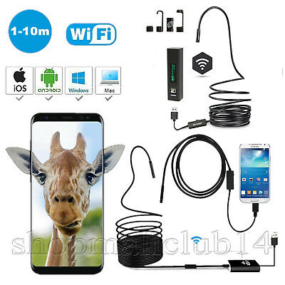 1/2/5/7/10m Android PC USB WIFI Endoskop 5,5/7/8mm Inspektionskamera Kanal Handy
