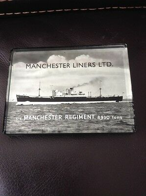Vintage SS Manchester Regiment Liners Ltd Mirror Glass Paperweight Ship Boat