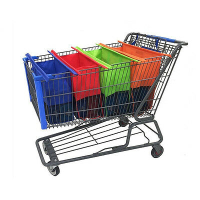 Reusable Shopping Bags Eco Foldable Trolley Tote Grocery Cart Storage Set 4 Bags