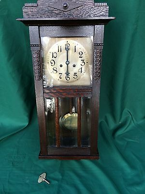lovely handsome antique wall clock, in need of repair, not working
