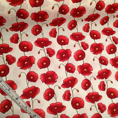 Large Poppy 100% Cotton Fabric, Poppies Crafts,  metre UK seller, sewing crafts