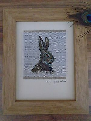 Original Handmade Hare Framed Textile Art Picture Hand-painted on linen fabric