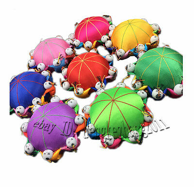 Wholesale 5pcs Chinese Handmade Classic Silk Pin&Needle Cushion With 8 Cute Doll