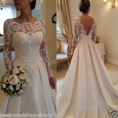 New White/ivory Wedding dress Bridal Gown STOCK size 4-6-8-10-12-14-16-18