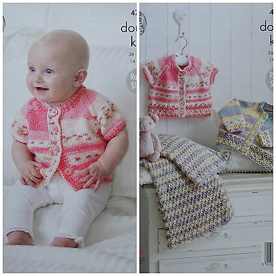 KNITTING PATTERN Baby Lace Hem Cardigans and Blanket King Cole Drifter DK 4797