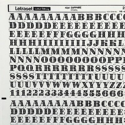 NEW & UNUSED SHEET LETRASET RUB ON TRANSFER LETTERS 42pt Sapphire
