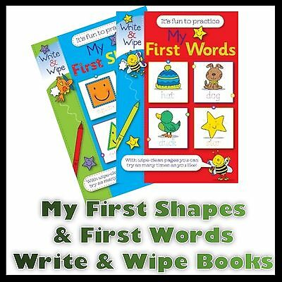 Children's My First Words & My First Shapes Write And Wipe Fun Practice Books Uk