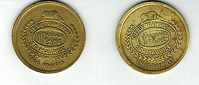 Mfd In Canada Lot Of 2 Tokens Passages St Maurice Trois Rivieres : Beaver Cie