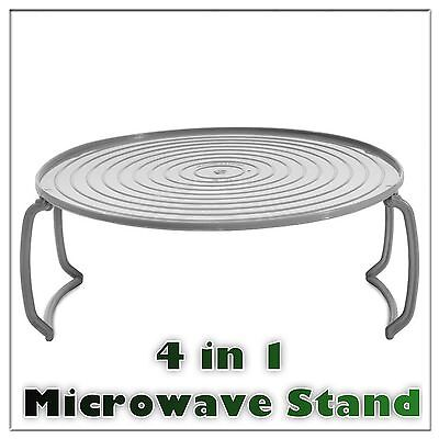4 In 1 Microwave Food Dish Plate Stand Stacker Tray Heat Warm Two Meals Together