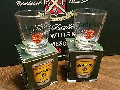 Jameson Irish Whiskey 2 Shot Glasses (New Old Stock)