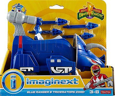 Imaginext Mighty Morphin Power Rangers; Blue Ranger & Triceratops Zord - NEW
