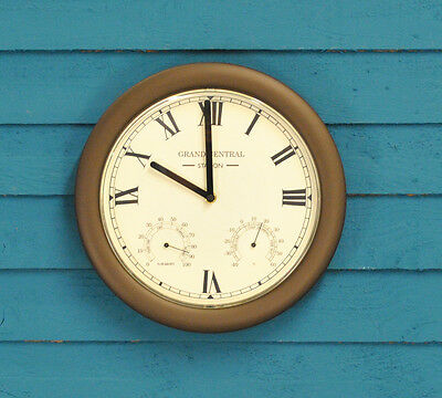Grand Central Station Wall Clock & Thermometer (30cm) by Gardman