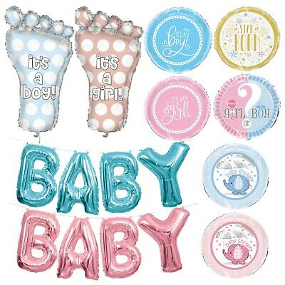 BABY SHOWER FOIL BALLOON, Helium, Party, Blue, Pink , Unisex, White, Girl, Boy