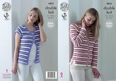 Double Knitting Pattern Womens Raglan Sleeve Cardigans King Cole Smooth DK 4832