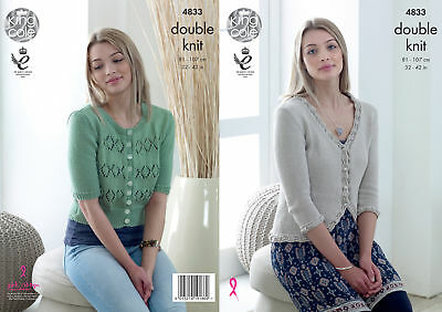 Double Knitting Pattern Womens Lace Trim & Detail Cardigans King Cole DK 4833