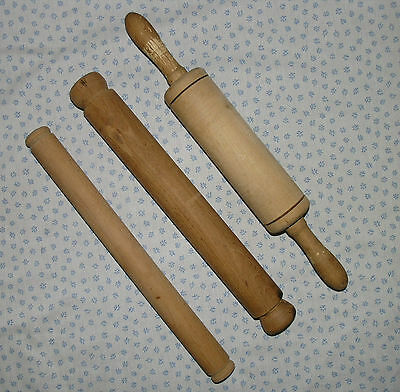 3 vintage wooden rolling pins, assorted sizes, 1 revolving