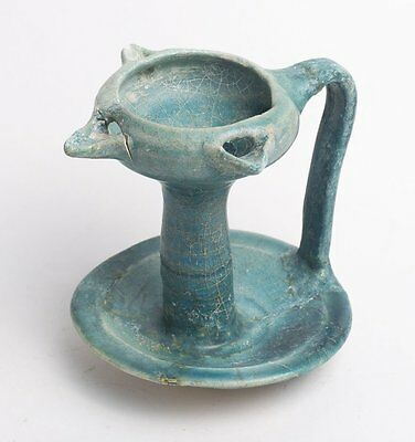 Persian KASHAN TURQUOISE-GLAZED CERAMIC LAMP c.13TH Century AD.