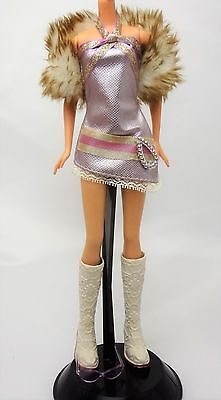 My Scene Barbie Doll Outfit Clothes Boots Faux fur boa eye glasses dress