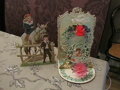 Two Beautiful Antique 3D Greeting Cards Cherubs/Dove/Donkey 1890/1900's