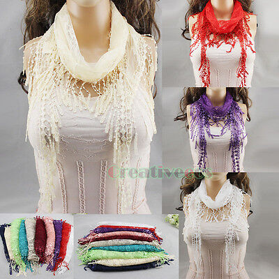 Fashion Womens Solid Color Crochet Lace Mesh Trim Tassel Soft Triangle Scarf New