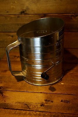 Vintage Metal Bromwells 5 Cup Flour Measuring Sifter Black Handle Made USA