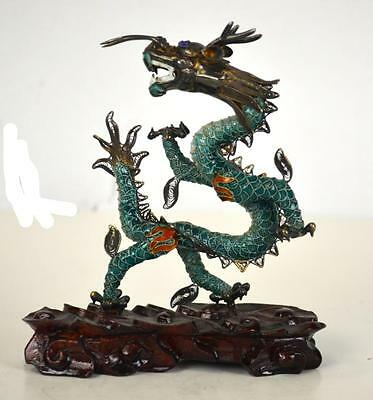 Chinese Silver Enamel Dragon with Stand Lot 160