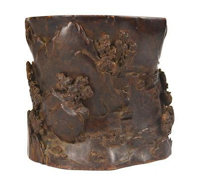Finely Carved Chen Xiang Wood Brush Pot Lot 22