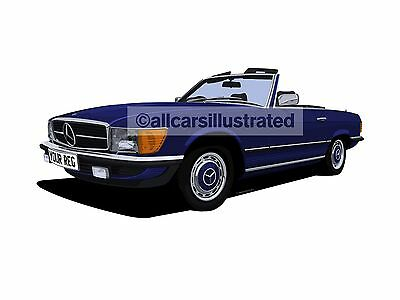 Mercedes Benz Sl Car Art Print Picture (Size A4). Personalise It!