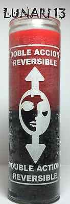 Double Action Reversible, Red And Black, 7 Day Candle, Lunari13, Wicca, Santeria