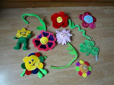 Bundle 8 x Plush ASSORTED SMILEY FLOWERS Soft Toys 20 ins Long max.